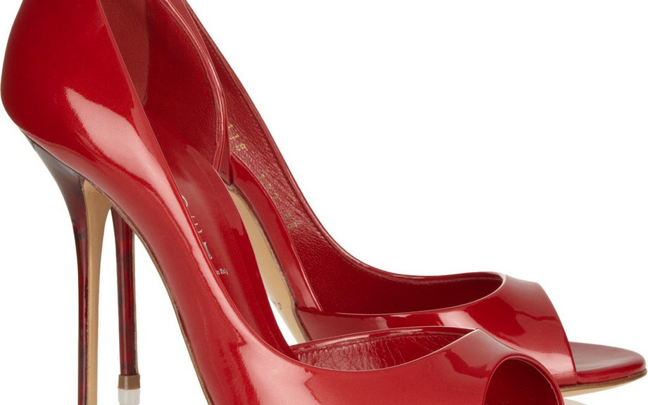 red peep toe d'Orsay pumps