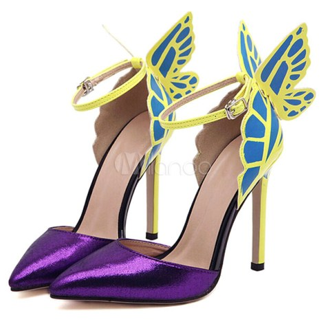 butterfly high heeled shoes