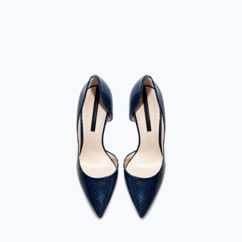 Blue Snakeskin High Heel Pumps