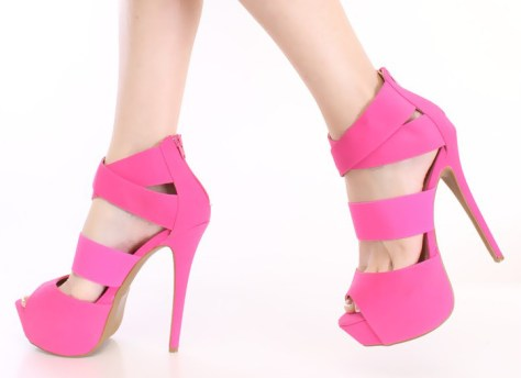 pink strappy high heeled sandals