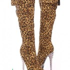 Leopard Print Spiked Knee High Boots Faux Suede