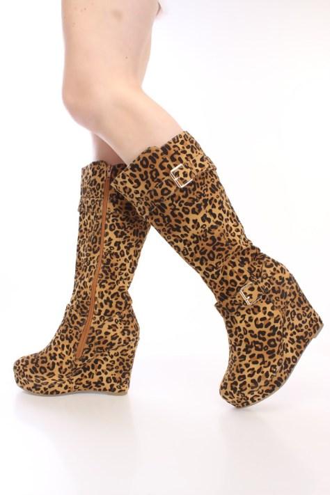 Leopard print mid calf boot