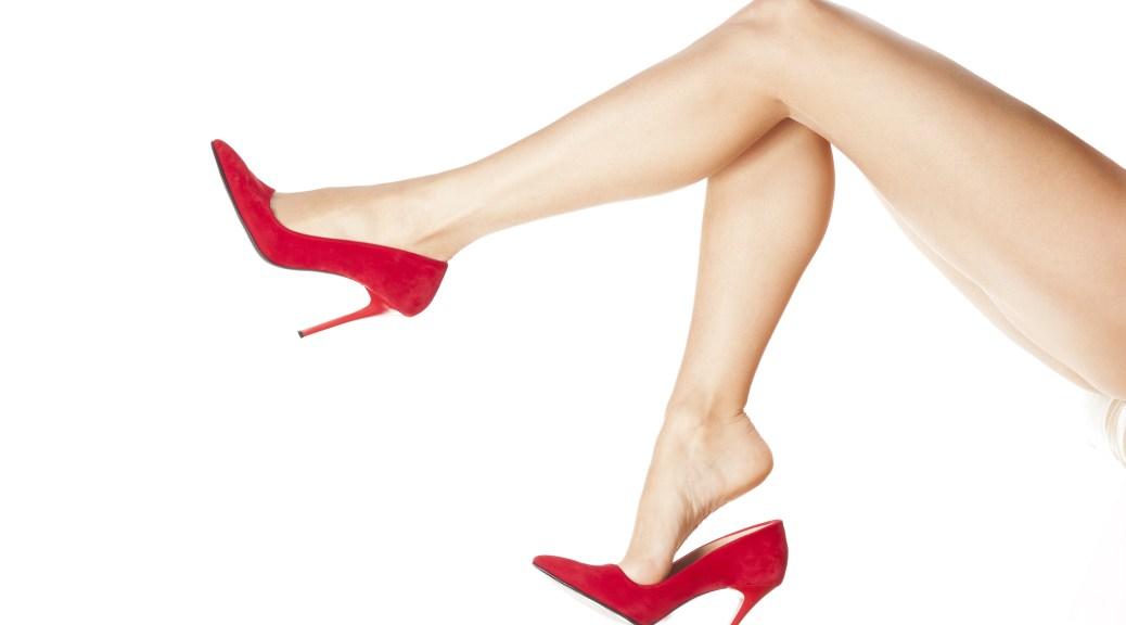 dangling red high heels