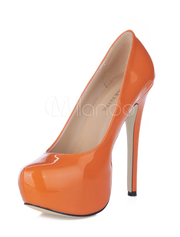 orange platform pumps