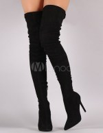 exy over the knee boots in black