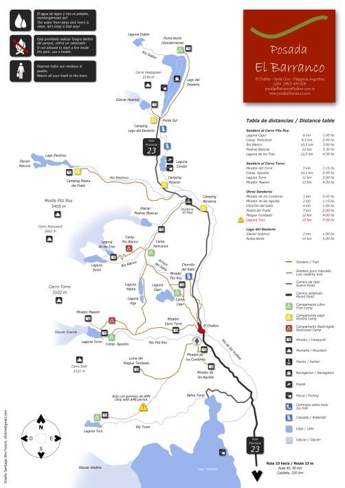 el chalten hiking map