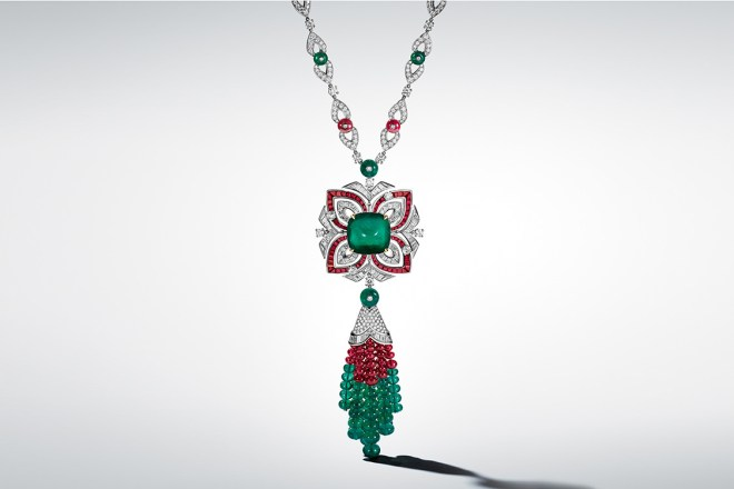 Armonia: With its Columbian sublime emerald cabochon (28.21 ct), 54 round emeralds (86.50 ct) and 45 round rubies (49.99 ct) on white gold and diamonds, the Armonia necklace make a clever concerto of shapes and polyhedral lines, harmonizing gems of different shapes, colours and carats.