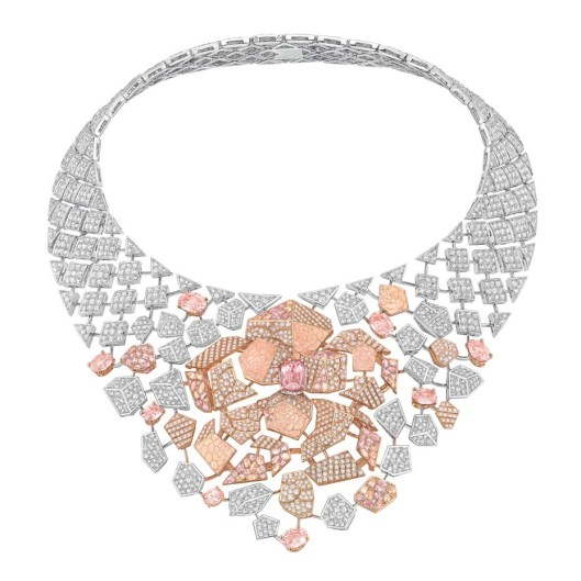 Chanel Café Society Sunset necklace set with padparadscha sapphires, pink sapphires and brilliant-cut diamonds.