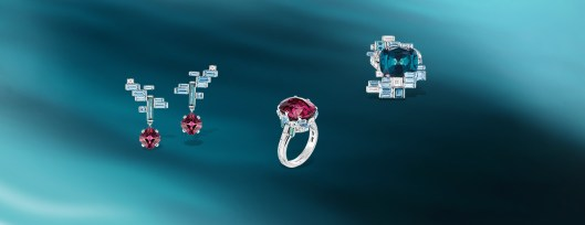 Lumières d'Eau earrings in white gold, diamonds, aquamarines, indicolite tourmalines, and two cushion-cut red spinels; Lumières d'Eau ring in white gold, diamonds, aquamarines, indicolite tourmalines and a cushion-cut red spinel, and Lumières d'Eau ring in white gold, diamonds, aquamarines, indicolite tourmalines and a cushion-cut indicolite tourmaline.