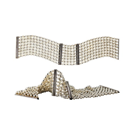 Diamonds & Pearl Mesh Cuff Bracelets A pair of pearl-mesh and Diamond cuff bracelets with Alexandra Mor's signature details of knife-edged wire and 'floating' Diamond melee. 18-karat white gold. Signed by artist. Crafted in the USA. Limited-Edition 1/15 Available in 18-karat yellow gold, 18-karat white gold and platinum.