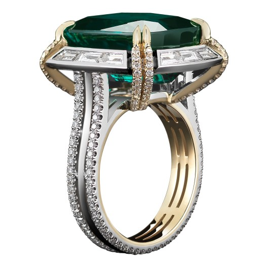 Green-Blue Tourmaline & Diamond Ring A 14.82 carat Cushion- cut vivid green-blue Tourmaline ring, set with Alexandra Mor's signature details of 'floating' diamond melee and knifeedged wire surrounded by 12 Step- Cut baguette diamonds. Platinum set on 1mm 18-karat yellow gold band with Alexandra Mor logo gallery. 2.38 carat total Diamond weight. Signed by artist. Crafted in the USA. One-of-a-Kind 1/1.