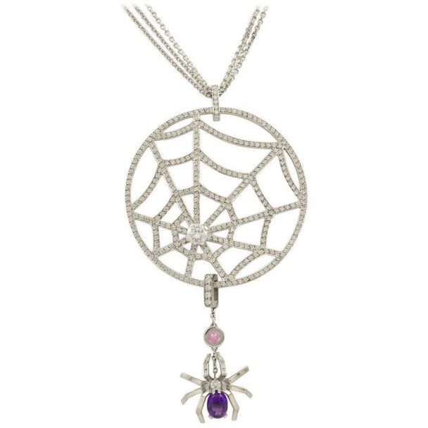 Chaumet white gold, diamond and amethyst pink sapphire spider web necklace.