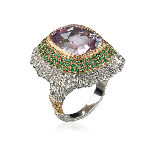 Pagoda Cocktail Ring in White, yellow and pink gold with Kunzite, emeralds and diamonds