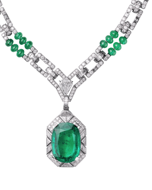 Platinum, one cushion-cut emerald (26.60 carats) from Colombia, one cut-cornered triangular step-cut diamond (2.02 carats), emerald beads, calibré-cut diamonds. The emerald pendant can be removed.