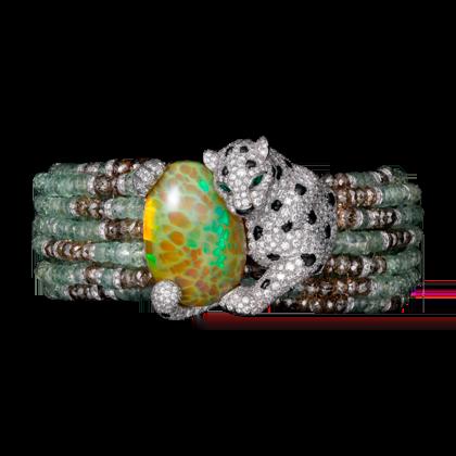High Jewellery Panthère de Cartier Bracelet. White gold, opal, chrysoberyls, emeralds, onyx, brown diamonds, diamonds