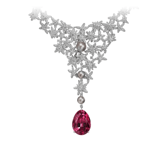 High Jewellery  Cartier Royal  necklace, 18K white gold, one pear-shaped spinel (49.74 carats) from Tajikistan, natural pearls, brilliant-cut diamonds. The spinel can be removed.