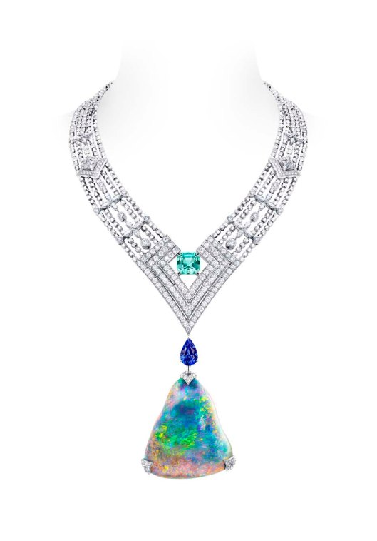 Louis Vuitton Acte V Genesis necklace featuring a 87.92ct Australian black opal and Vuitton's signature star-cut diamonds