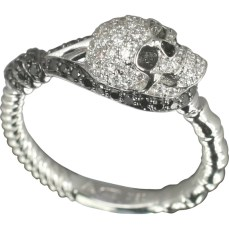 Stephen Webster Well Hung Ring., Murder She Wrote collection. 18k white gold, black rhodium plating, white and black diamonds.