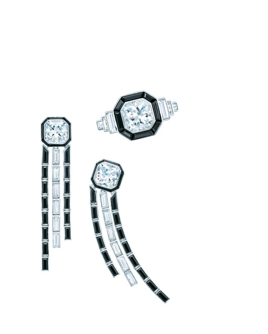 Tiffany square cushion modified brilliant cut diamond ring with black spinel in platinum and diamond and black spinel drop earrings in platinum