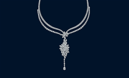 455 marquise, pear-shaped and round brillant diamonds weighing a total of approximately 81.07 carats, set in platinum. This necklace could be worn as a sautoire, a three row necklace or as a back drop pendant.