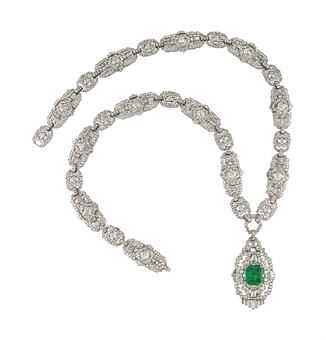 AN ART DECO EMERALD AND DIAMOND SAUTOIR  The pendant centering upon a detachable rectangular-cut emerald in an openwork diamond geometrical surround with baguette-cut diamond fringe, to the geometrical diamond-set link chain, can detach to form four bracelets, 1920s, necklace 75.0 cm, bracelets 18.5 cm each. Estimate US$ 130,726 - $183,017.