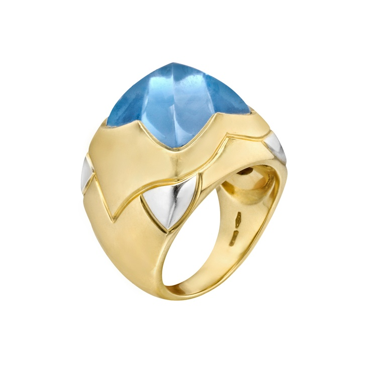 Estate Bulgari Piramide 18k Gold & Blue Topaz Cocktail Ring.