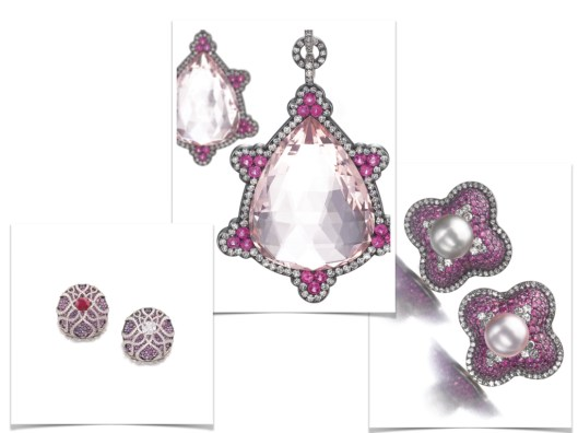 CENTRE: PAIR OF SPECTACULAR MORGANITE, RUBY AND DIAMOND PENDENT EARRINGS, JAR Each suspending a pendeloque morganite embellished with circular-cut ruby clusters within a border of single-cut diamonds, signed JAR. LEFT: PAIR OF SUPERB SAPPHIRE, RUBY AND DIAMOND EARRINGS, JAR Each of circular form, pavé-set with circular-cut sapphires of various hues ranging from light pink to purplish blue, surmounted with a stylised cage set with a cushion-shaped stone, one a diamond weighing 3.06 carats, the other a ruby weighing 4.89 carats, and lines of single-cut diamonds, signed JAR. RIGHT: PAIR OF VERY FINE NATURAL PEARL, RUBY AND DIAMOND EARRINGS, JAR Each of quatrefoil design, set with a button-shaped natural pearl within a bombé surround of circular-cut rubies and single-cut diamonds, post and hinged back fittings, signed JAR.