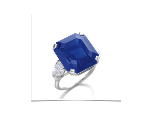 RARE AND EXCEPTIONAL SAPPHIRE AND DIAMOND RING The step-cut sapphire weighing 27.54 carats, set between pear-shaped diamond shoulders, size 53, together with an alternative ring mount, Graff.