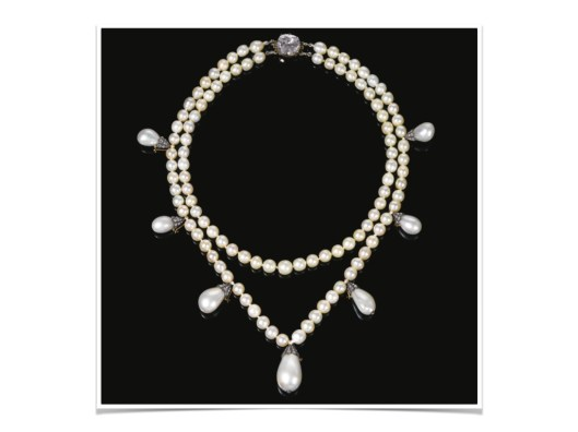 MAGNIFICENT NATURAL PEARL AND DIAMOND NECKLACE Composed of two strands of natural pearls measuring from approximately 6.25 to 8.45mm, suspending seven detachable drop shaped natural pearls, measuring from approximately 9.50 x 9.55 x 13.85mm to 14.10 x 14.85 x 21.25mm, capped with rose diamonds, the clasp set with a cushion-shaped diamond, shortest length approximately 400mm, each pearl strand detachable, fitted case, accompanied by a portrait of Queen Joséphine wearing the necklace, measuring approximately 870 x 720mm.