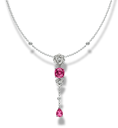 Piaget Rose necklace in 18K white gold set with 52 brilliant-cut diamonds (approx. 0.74 ct) and 2 cushion-cut pink tourmalines (approx. 2.82 ct).