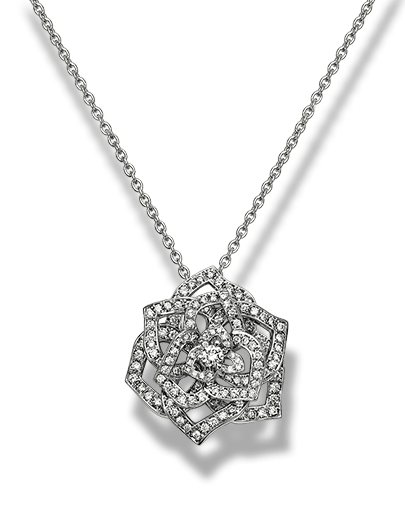 Piaget Rose pendant in 18K white gold, set with one brilliant-cut diamond (approx. 0.1 ct) and 153 brilliant-cut diamonds (approx. 1.02 ct).