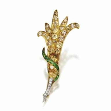 Topaz, citrine quartz and demantoid garnet flower brooch, Tiffany & Co., circa 1900, made for the Paris Exhibition.
