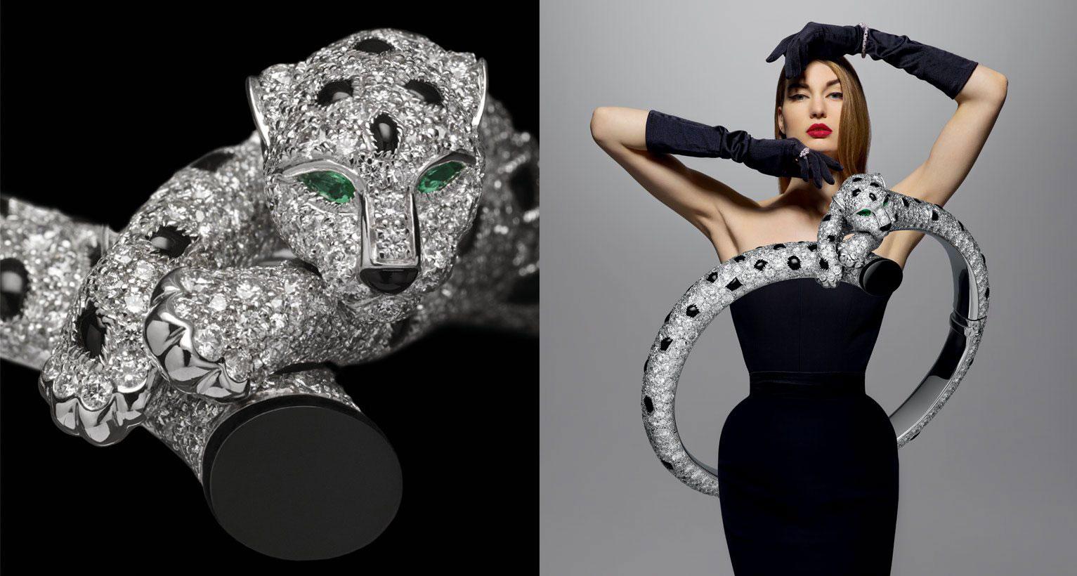 Bracelet in white gold, emeralds, onyx and diamonds