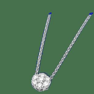 Fleurette pendant, white gold and diamonds.