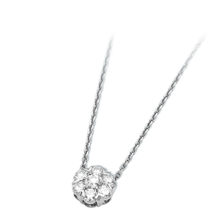 Fleurette pendant, white gold and diamonds.