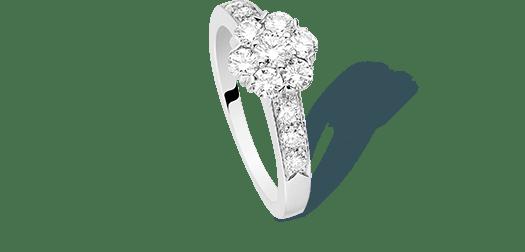 Fleurette ring, white gold and diamonds