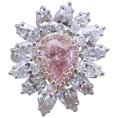 G.I.A Intense Pear Shaped GIA Cert Diamond Gold Platinum Ring