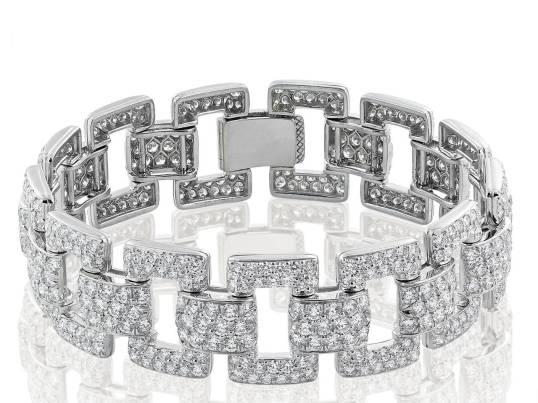 15.13 Carat Pave Diamond Platinum Bracelet