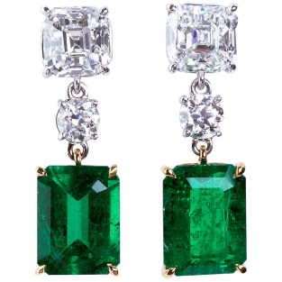 Colombian Emerald Diamond Gold Platinum Drop Earrings