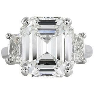 9.01 Carat Emerald Cut GIA Cert Diamond Platinum Engagement Ring