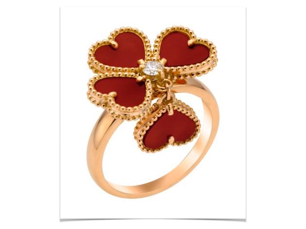 Sweet Alhambra effeuillage ring, pink gold, carnelian, round diamond 0.09ct