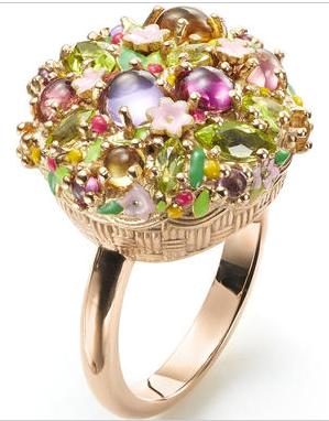 Mattioli Arcimboldino ring, in pink gold, with citrine quartz, amethyst, rhodolite, pink tourmaline and periodot.