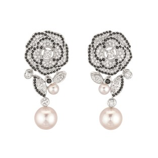 "Les Intemporels de Chanel. ""Camélia Gansé"" earrings in 18K white gold set with 4 marquise-cut diamonds for a total weight of 1.1 carat, 156 brilliant-cut diamonds for a total weight of 1.5 carats, 4 Japanese cultured pearls and 184 brilliant-cut spinels for a total weight of 1.5 carat."