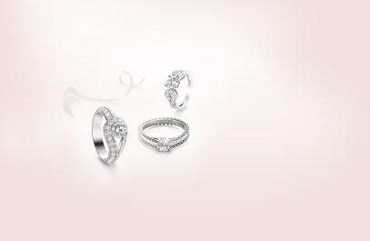 Van Cleef & Arpels Couture Solitaire, Estelle Solitaire and Tete-à-Tete Solitaire rings.