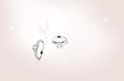Van Cleef & Arpels Romance Solitaire and Bonheur Solitaire rings.