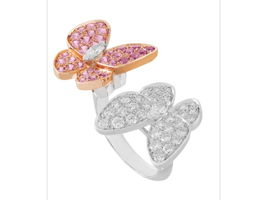 Two Butterfly Between the Finger Ring, white gold, diamonds and pink sapphires