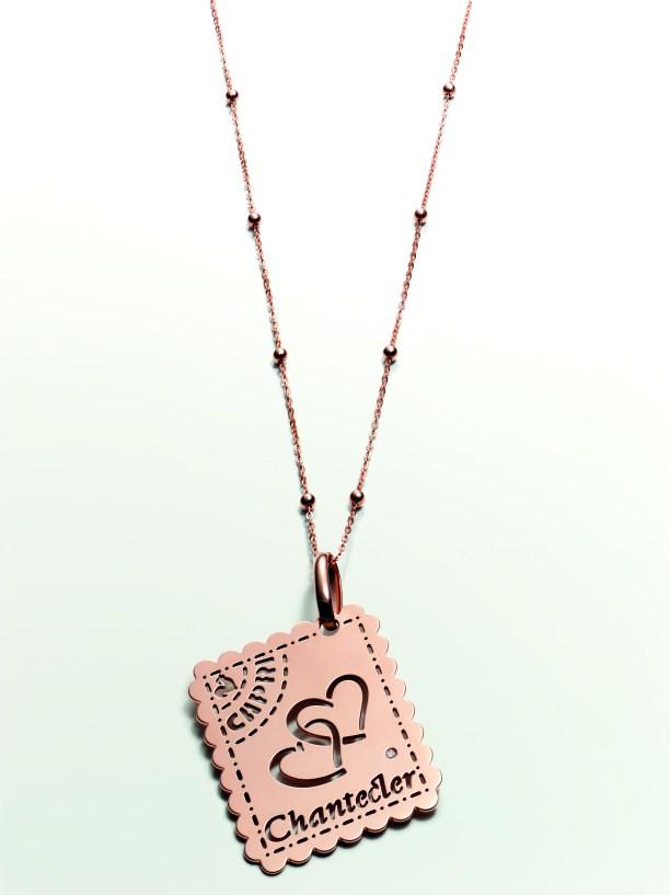 Chantecler Capri Love Letter pendant & chain in pink gold