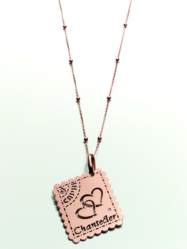 Chantecler Capri Love Letter pendant & chain in pink gold