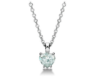 Griffe pendant with 18 kt white gold chain and heart cut diamond. Available from 0.70 ct.