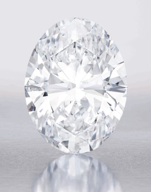 Spectacular Oval Diamond 118.28 carats Oval Brilliant-cut, D color, Flawless Sold for US$30.6 million / US$258,708 per carat **World auction record price for a white diamond** Sotheby's Hong Kong, 2013